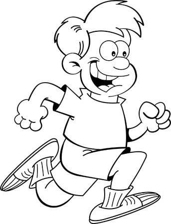 child running: Black and white illustration of a boy running