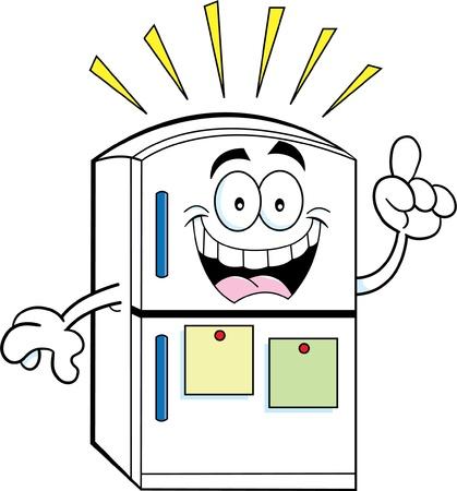 Cartoon illustration of a refrigerator with an idea