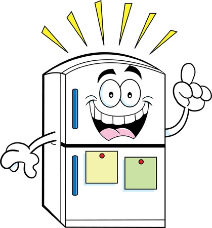 frig: Cartoon illustration of a refrigerator with an idea