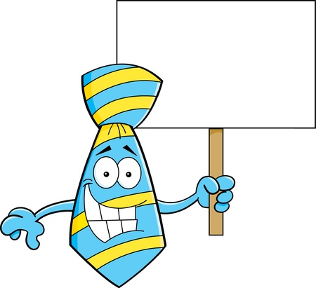 Cartoon illustration of a tie holding a sign  Vectores