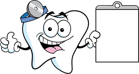 Cartoon illustration of a tooth holding a chart and giving thumbs up