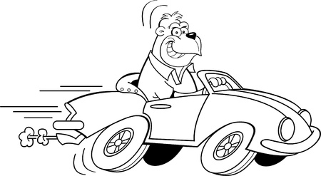 car speed: Black and white illustration of a gorilla driving a car  Illustration