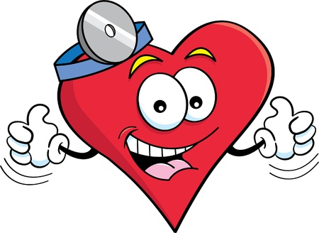 heart clipart: Cartoon illustration of a heart with thumbs up