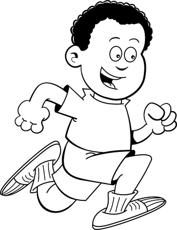 kids playing sports: Black and white illustration of an African boy running  Illustration