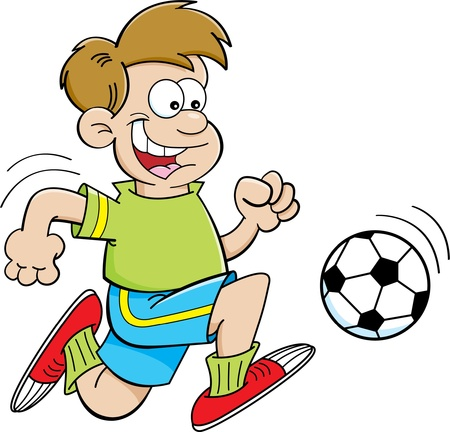 Cartoon illustratie van een jongen voetballen