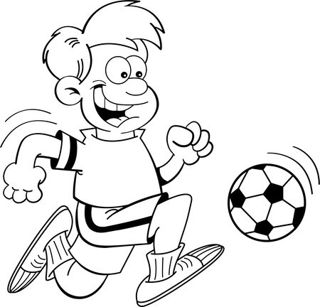 kids playing sports: Black and white illustration of a boy playing soccer