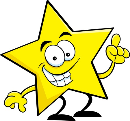 Cartoon illustration of a star with an idea  Vector