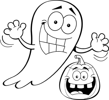 smilling: Black and white illustration of a ghost with a pumpkin  Illustration