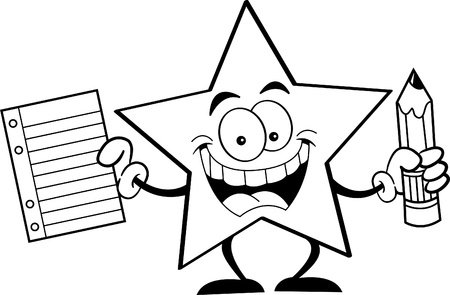 shining star: Black and white illustration of a star holding a pencil and paper