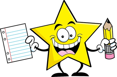 star: Cartoon illustration of a star holding a pencil and paper  Illustration