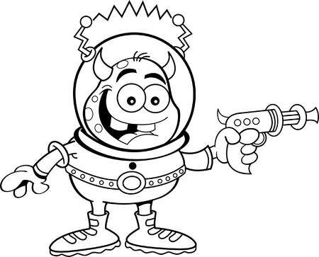 ray gun: Black and white illustration of a space alien holding a ray gun  Illustration