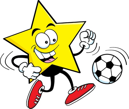 Cartoon illustration of a star playing soccer