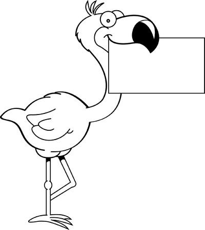flamingo: Black and white illustration of a flamingo holding a sign  Illustration