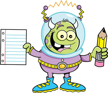 Cartoon illustration of a alien holding a paper and pencil