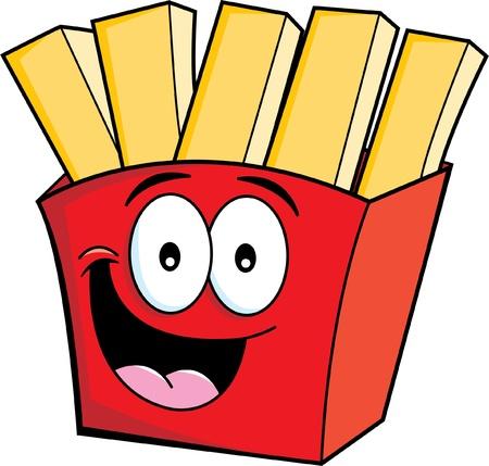 Cartoon illustratie van lachende frietjes
