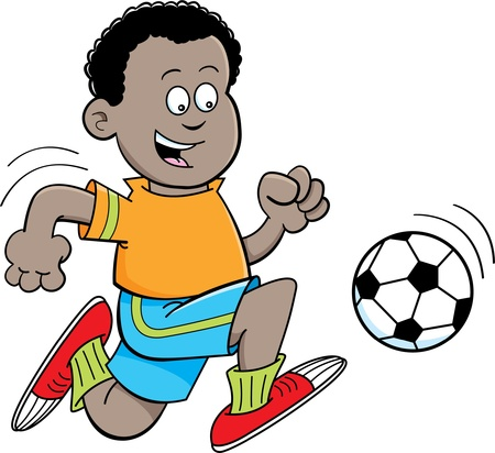 Cartoon illustration of an African boy playing soccer