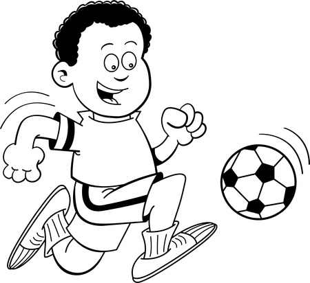 Black and white illustration of an African boy playing soccer  Vector