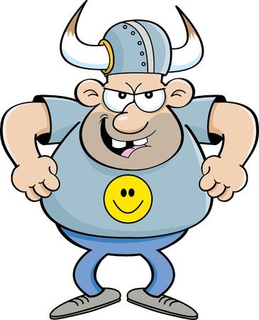 Cartoon illustration of an angry man wearing a viking helmet  Illustration
