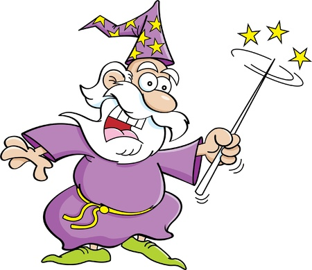 Cartoon illustration of a wizard with a magic wand  Vector
