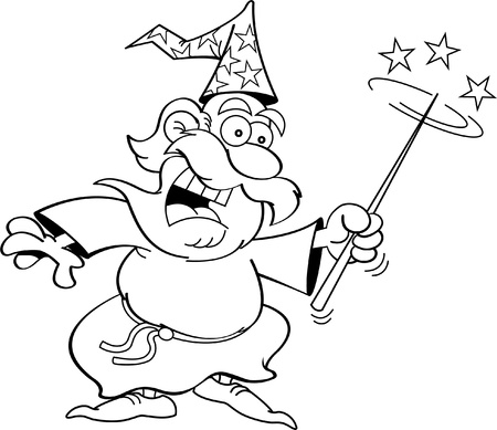 Black and white illustration of a wizard with a magic wand  向量圖像