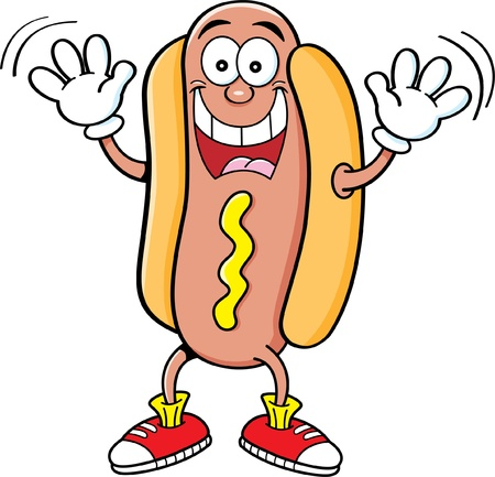 Cartoon illustration of a hotdog waving