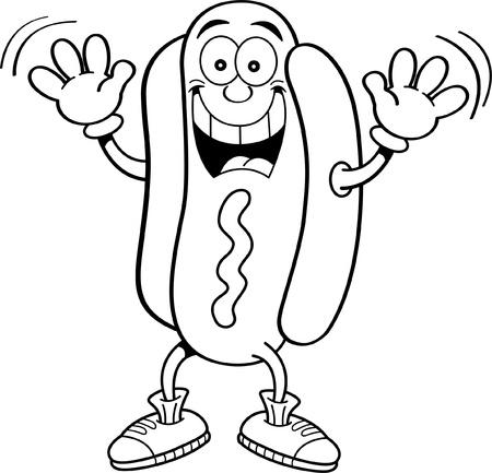 Black and white illustration of a hotdog waving
