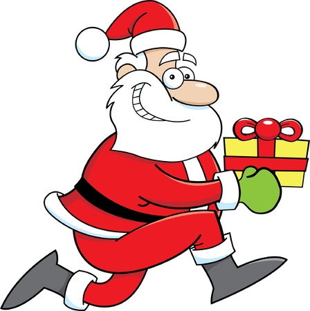Cartoon illustration of Santa Claus running with a gift