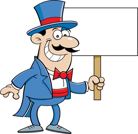 Cartoon illustration of a man in a top hat holding a sign