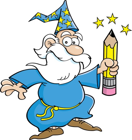 Cartoon illustration of a wizard holding a pencil
