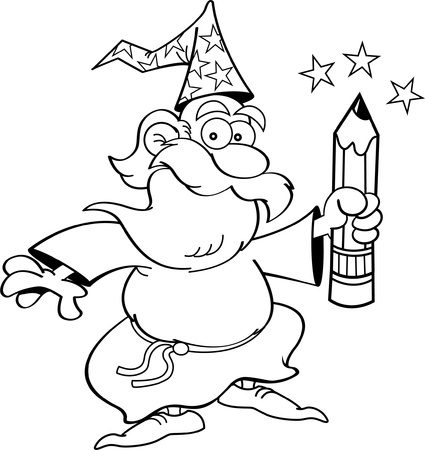 Black and white illustration of a wizard holding a pencil
