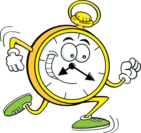 Cartoon illustration of a pocket watch running  Vector