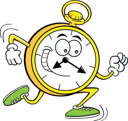 running: Cartoon illustration of a pocket watch running  Illustration
