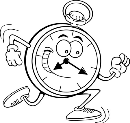Black and white illustration of a pocket watch running