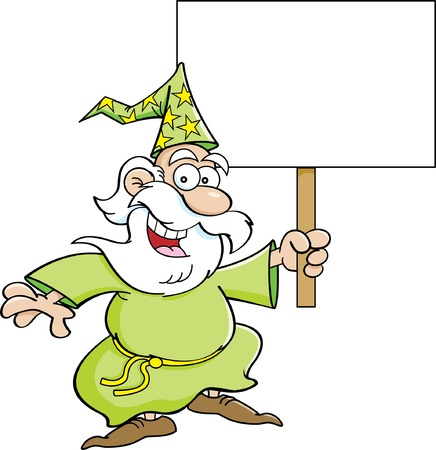 Cartoon illustration of a wizard holding a sign