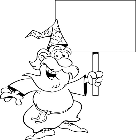 Black and white illustration of a wizard holding a sign  Çizim
