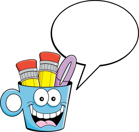 writing instruments: Cartoon illustration of a cup holding pencils and a pen with a caption balloon  Illustration