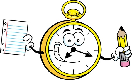 clock: Cartoon illustration of a pocket watch holding a paper and pencil