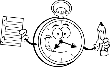 Black and white illustration of a pocket watch holding a paper and pencil