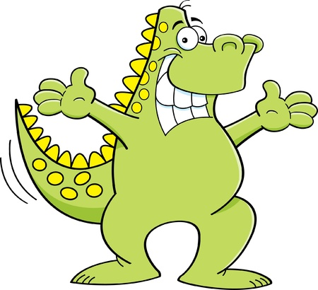 wagging: Cartoon illustration of a dinosaur with both arms extended