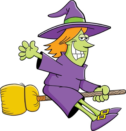 broomstick: Cartoon illustration of a witch flying on a broom