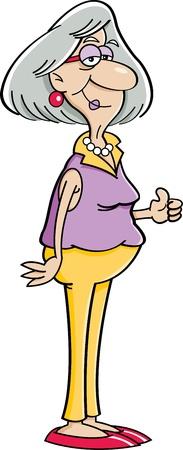 엄지 손가락을 포기하는 노인 여성의 만화 그림 일러스트