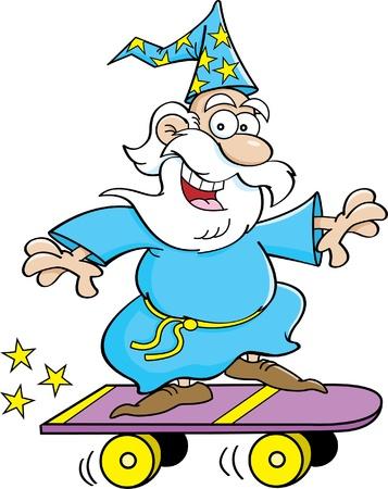 Cartoon illustration of a wizard riding a skateboard