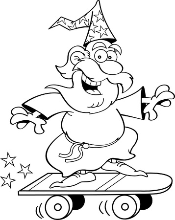 Black and white illustration of a wizard riding a skateboard  Illustration