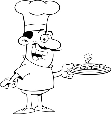 chef s hat: Black and white illustration of a chef holding a pizza