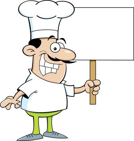 chef s hat: Cartoon illustration of a chef holding a sign