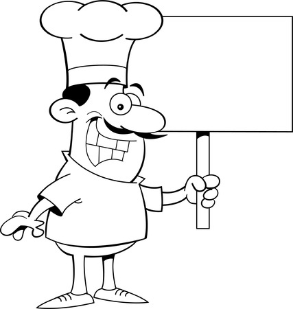 chef s hat: Black and white illustration of a chef holding a sign