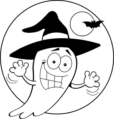 Black and white illustration of a ghost wearing a witch s hat  Illusztráció