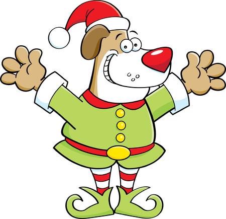 Cartoon illustration of a dog dressed as an elf