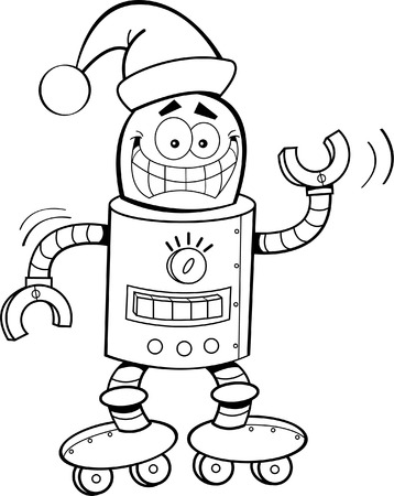 Black and white illustration of a robot wearing a Santa hat  Vector