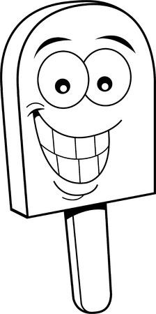 helados con palito: Ilustración en blanco y negro de un convite congelado